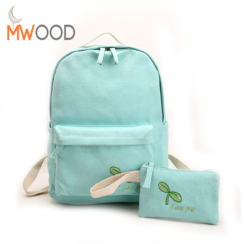 2pcs set 2017 Spring Women Nylon Backpack Bean Sprouts Printed Backpack Set School Bag Clutch Bag
