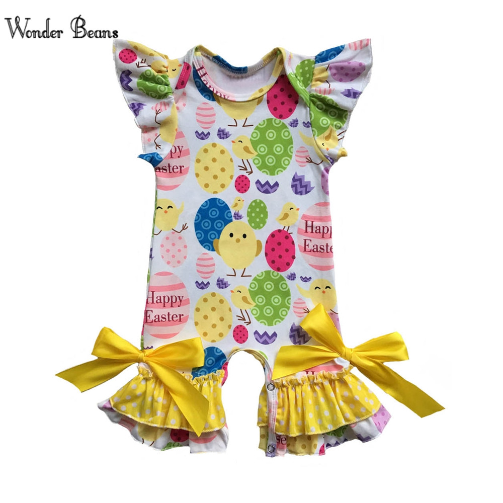 Baby Girl Easter Romper Infant Girls Soft Cotton Ruffle Onesie Newborn Baby Clothing First Easter Outfit Baby Clothes newborn infant baby clothes girls love floral strap romper jumpsuit outfit sunsuit summer cotton baby onesie girls clothing