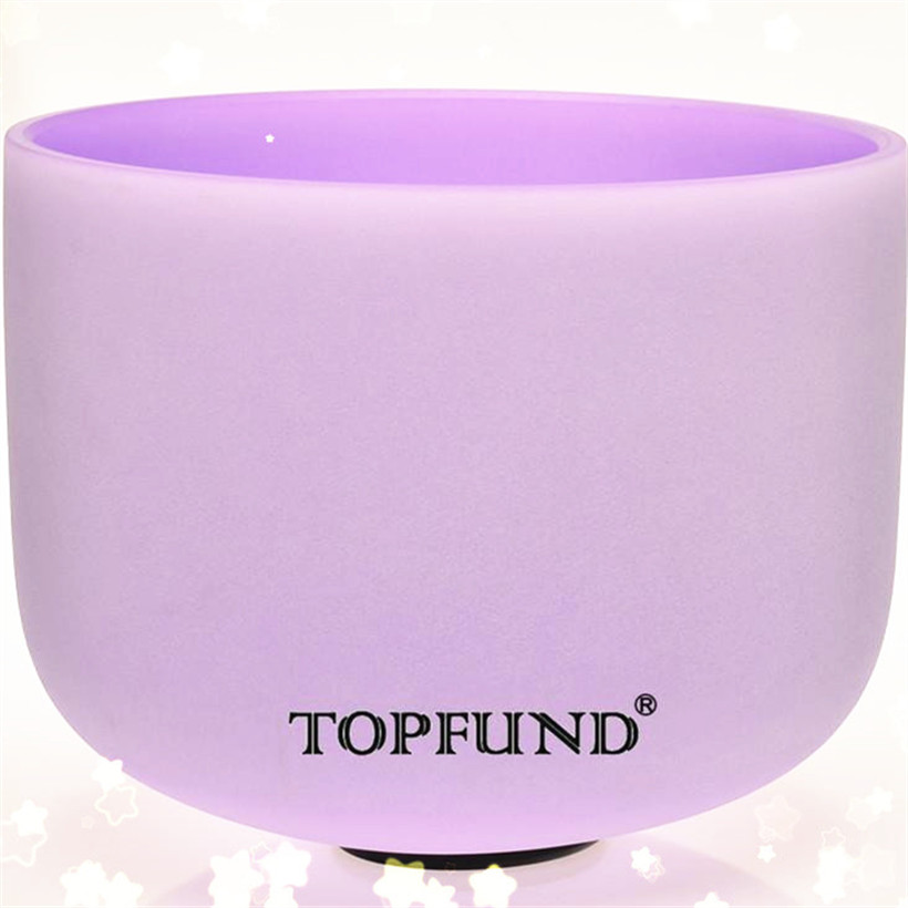 TOPFUND Violet Colored Frosted Quartz Crystal Singing Bowl A# Note Pineal  Chakra 12 With Free Mallet and O-Ring topfund red color perfect pitch c adrenals chakra frosted quartz crystal singing bowl 10 with free mallet and o ring
