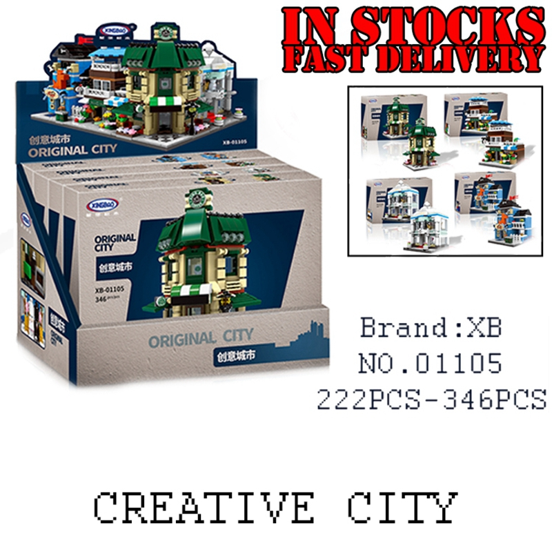 XingBao 01105 1079Pcs Creator 4 in 1 The Coffee Shop Wedding Store Flower Pet Shop Set Building Blocks Bricks Toys for children human in the store there are surprises low price store products lp st cheap suitcase
