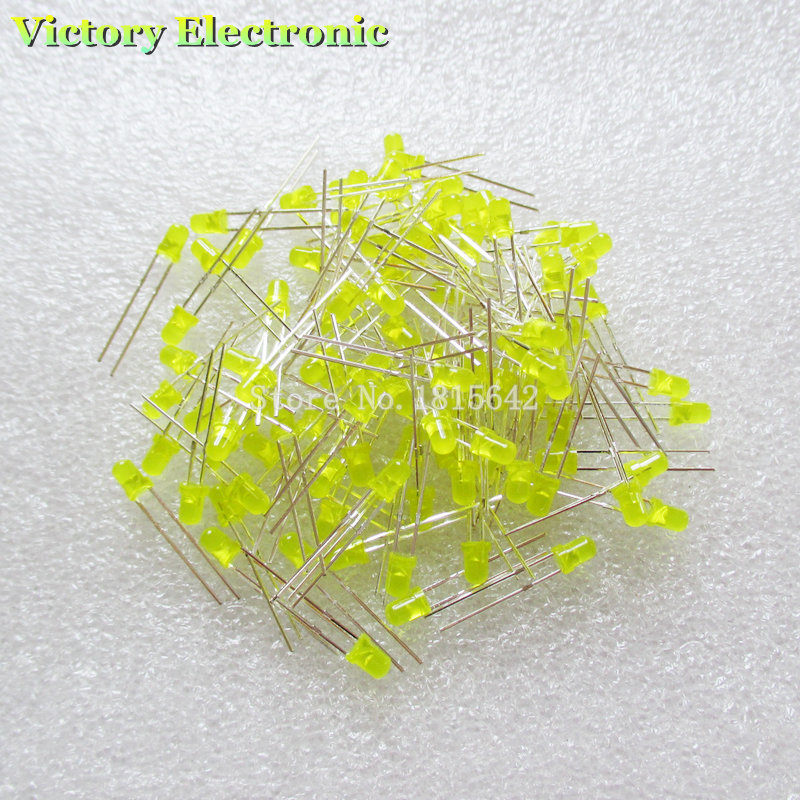 Electronic Components & Supplies Active Components Cooperative 200pcs/lot 3mm Led Diode Round Yellow Color Light Lamp F3 Dip Highlight