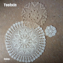 HOT cotton round placemat cup coaster mug kitchen wedding table place mat cloth lace Crochet tablecloth tea doily Handmade pad