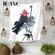 IBANO Chinese Paiting Lotus Tapestry Art Wall Hanging Blanket Home Decoration for Bedroom Dorm Yoga Mat Table Cloth High Quality