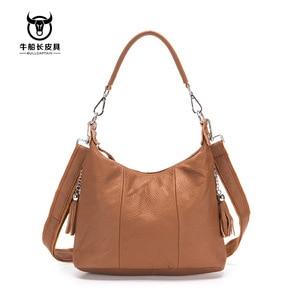 Image 5 - BULLCAPTAIN 2020 new bag female genuine leather handbags womens shoulder bag 8 inch Messenger bags for women casual tassel