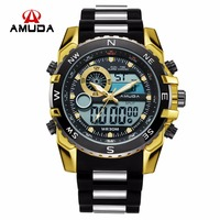 AMUDA Men Quartz Wristwatches Fashion Sport Dual Display Watch Auto Date Waterproof Relogio Masculino 2018 Male