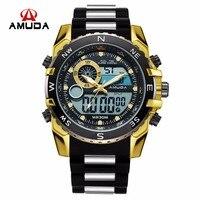 AMUDA Men Quartz Wristwatches Fashion Sport Dual Display Watch Auto Date Waterproof Relogio Masculino 2018 Male