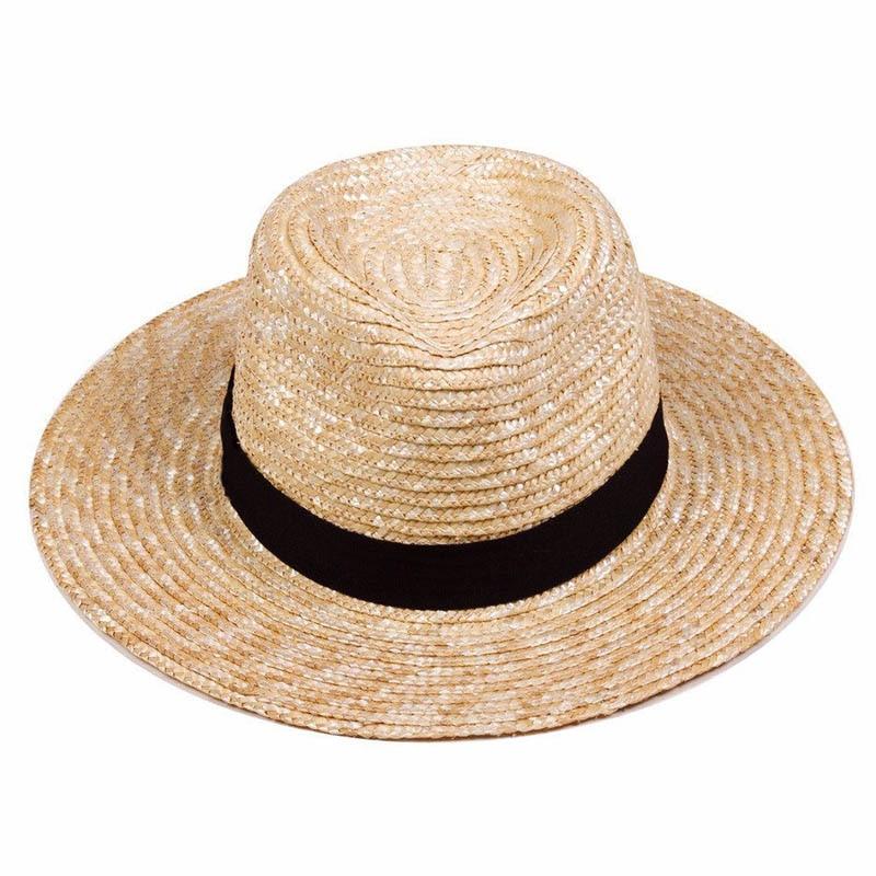b8d450bb Unisex Beach Sun Hat UPF50+ Braid Straw Wide Brim Jazz Cap for Women Men  Summer Fedora