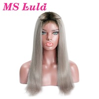 MS Lula 1B/Grey Color Ombre Brazilian Straight Hair Lace Front Wigs 100% Human Hair Remy Silver Gray Color Closure Wigs 4x4