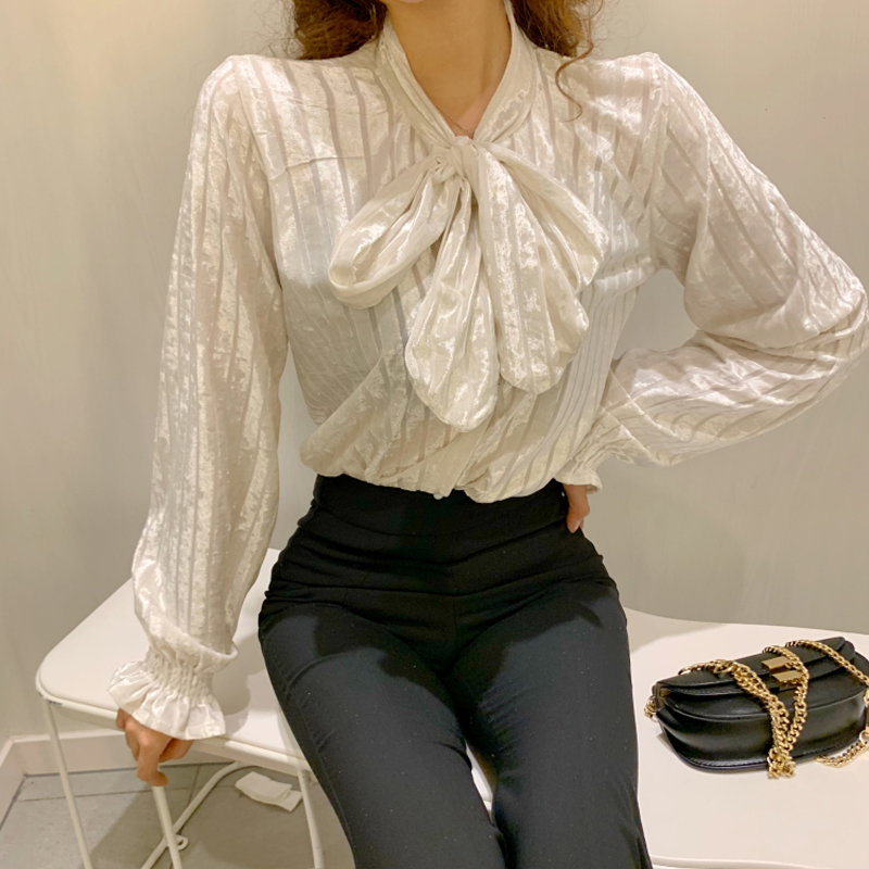 Vintage Bow Collar Full Sleeve Solid Women   Blouse     Shirts   Chic Loose Female   Blouses   Tops 2019 Spring Summer   Shirts   blusas