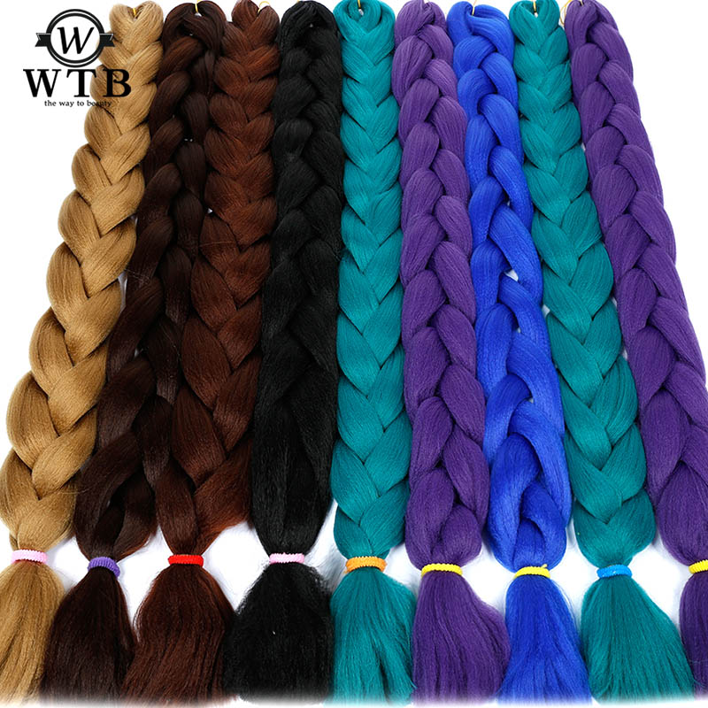 Jumbo Braids Smart Wtb 82inch Synthetic Jumbo Braids Hair Extensions 165g/pack Kanekalon Blonde Crochet False Braiding Hair
