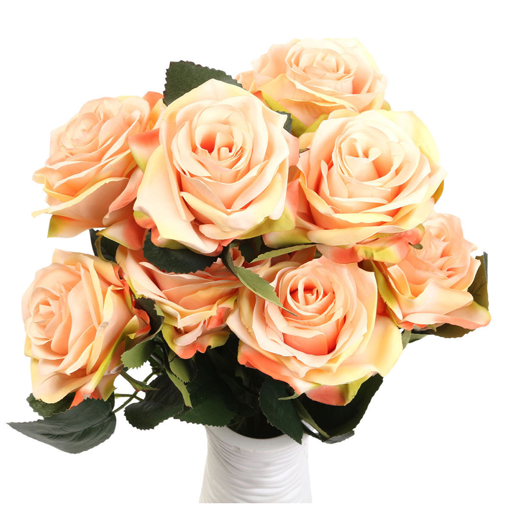 Boutique 1 bouquet 10 Head Artificial Silk cloth Rose Wedding Bridal Flower Bouquet Home Party Decor champagne