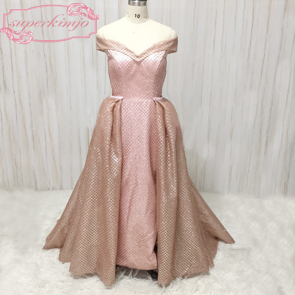 rose gold prom dresses evening gowns off the shoulder detachable ...