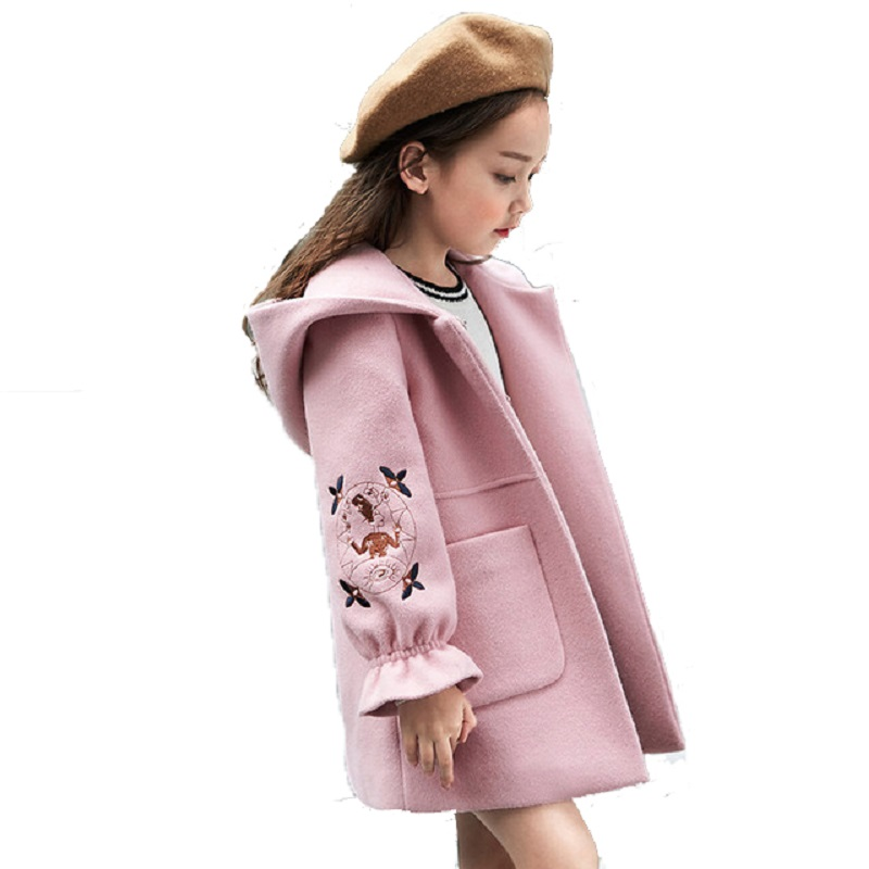 2018 Autumn Winter Girls Woolen Coat Pink Red Flores Design Petal Sleeves Long Jacket for Kids Age 4 6 8 10 11 12T Years Old one button design longline woolen coat page 6
