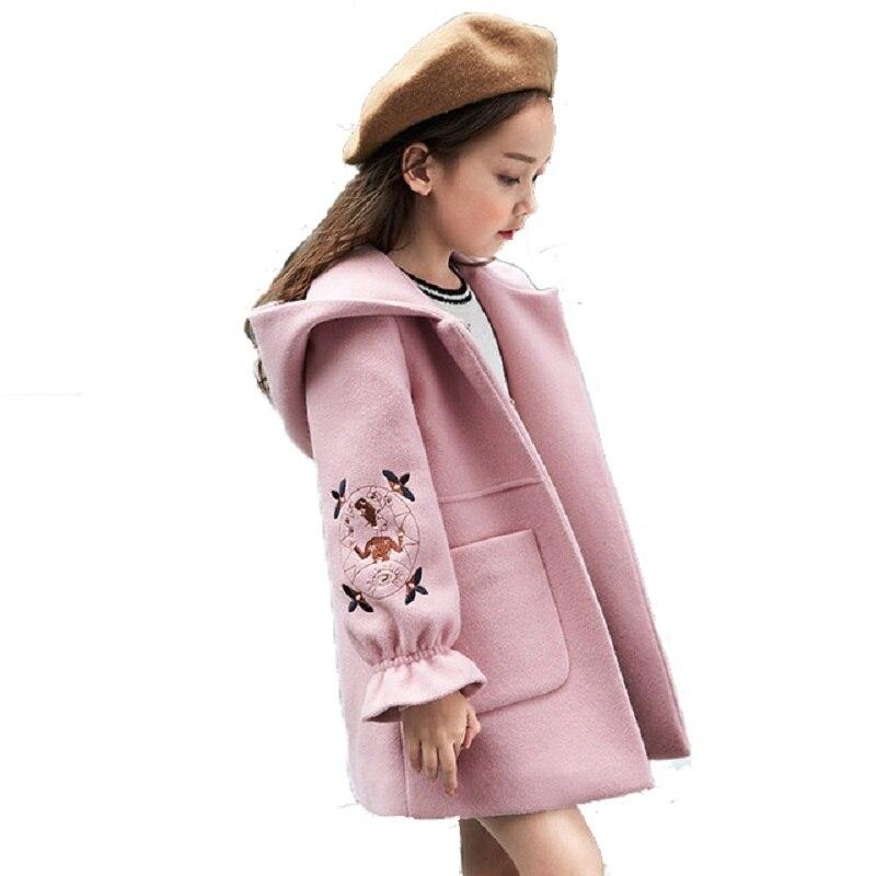 2018 Otoño Invierno niñas lana abrigo Rosa rojo Flores diseño pétalo mangas Chaqueta larga para niños edad 4 6 8 10 11 12 t años