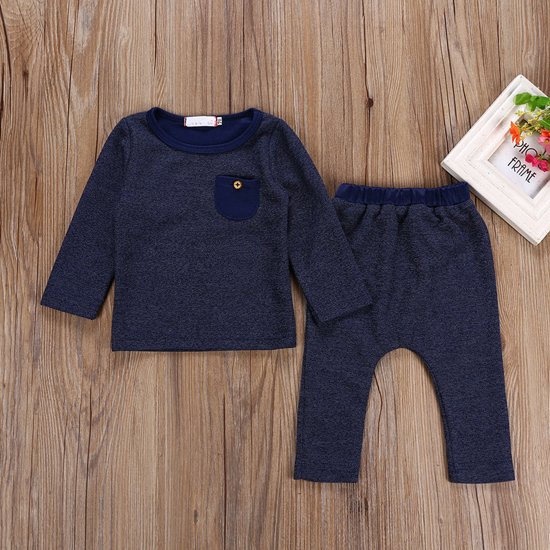Baby Spring Autumn Simple Suit Casual Baby Boy Girls Long Sleeve Tops T-shirt+Long Pants 2Pcs Outfits Infant Clothes Set 0-24M