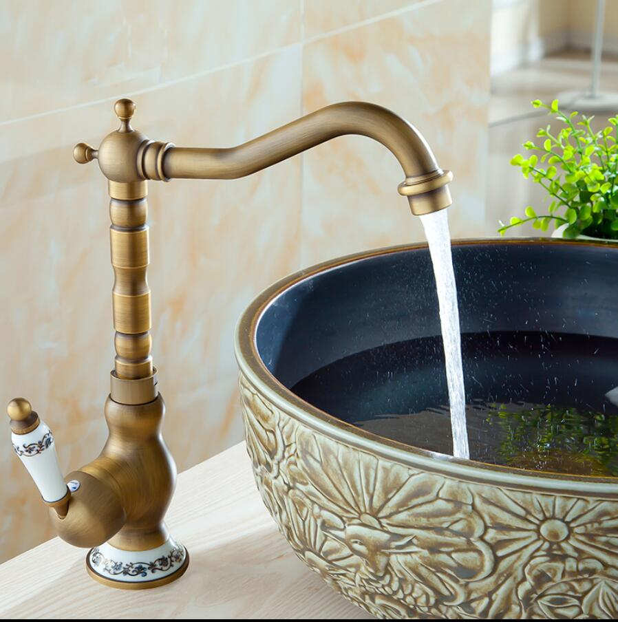 Antique bronze kitchen faucet hot and cold swivel sink crane single lever brass kitchen sink faucet fashion brass chrome hot and cold single lever hot and cold kitchen sink faucet