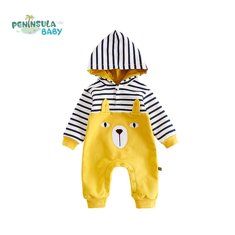 Winter Autumn Striped Cartoon Baby Rompers Newborn Cotton Tracksuit Clothing Baby Long Sleeve Hoodies Infant Boys Girls Jumpsuit newborn baby winter clothes romper set cotton baby clothing for girls boys striped rompers infant long sleeve product bebek