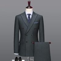100% шерсть двубортный мужской костюм набор серый Тонкий Блейзер брюки Свадебный Жених повседневные мужские костюмы с брюками плюс размер бл