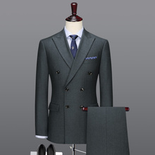 100% Wool double breasted grey suit