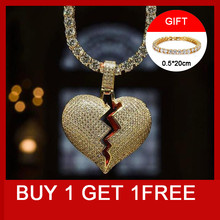 Hip Hop Bling Iced Out Tennnis Chain Copper Full Rhinestone Rope Chain Heart Breaking Pendant & Necklace For Men Jewelry rhinestone heart faux leather rope necklace