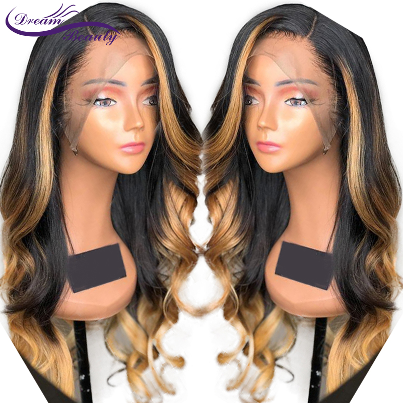 Ombre Blonde Highlight Human Hair Lace Front Wig With Baby Hair 13X6 Brazilian Wavy Remy Hair Pre-Plucked Human Wig Dream Beauty