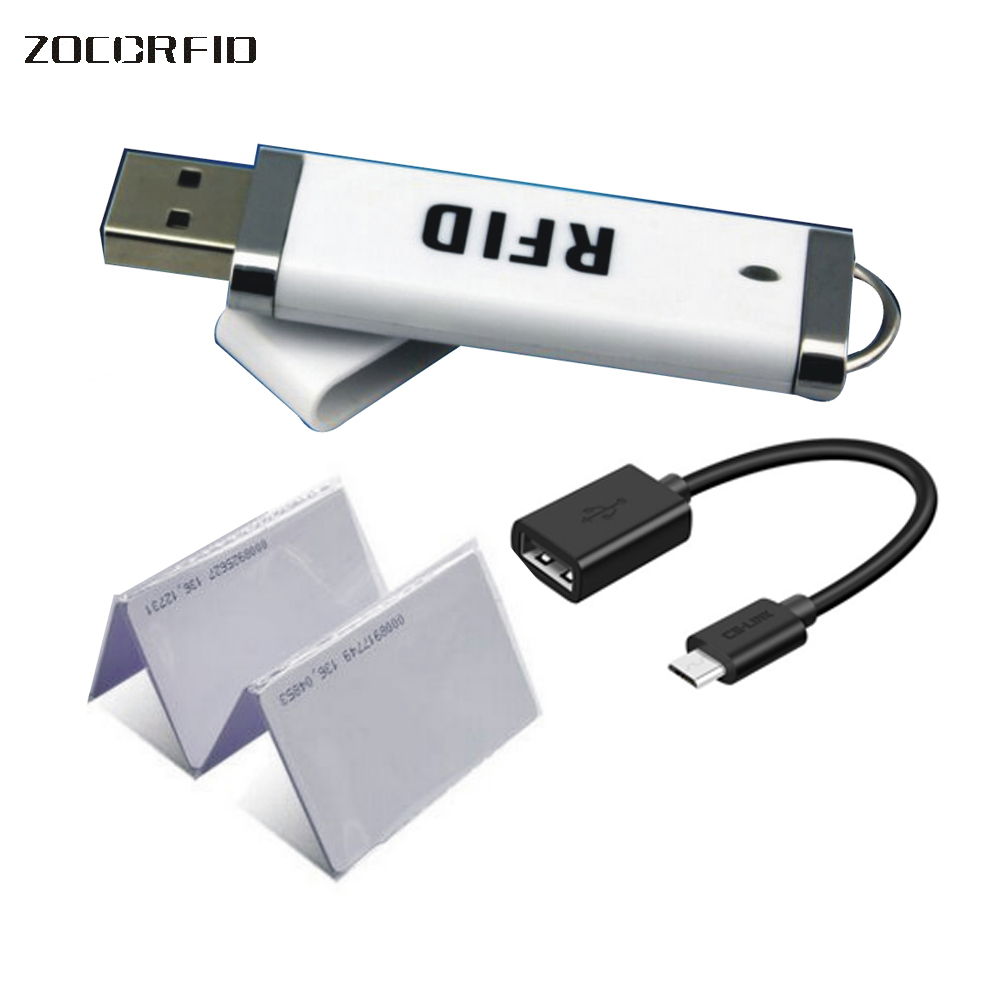 Free Shipping Newest Mini USB 125KHZ RFID Reader For IPad Android Mac Windows Linux 10bit Output +10pcs Cards
