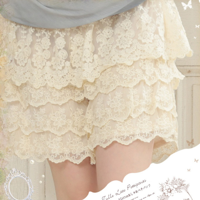 Harajuku Mori Girl Sweet Shorts Women's Lace Solid Color Elastic Waist Patchwork Hook Flower Hollow Cute Female Shorts A066