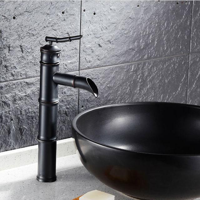 Noir Bambou Robinet Salle De Bains Mitigeur De Lavabo Antique Noir Bronze  Fini Robinets Du0027