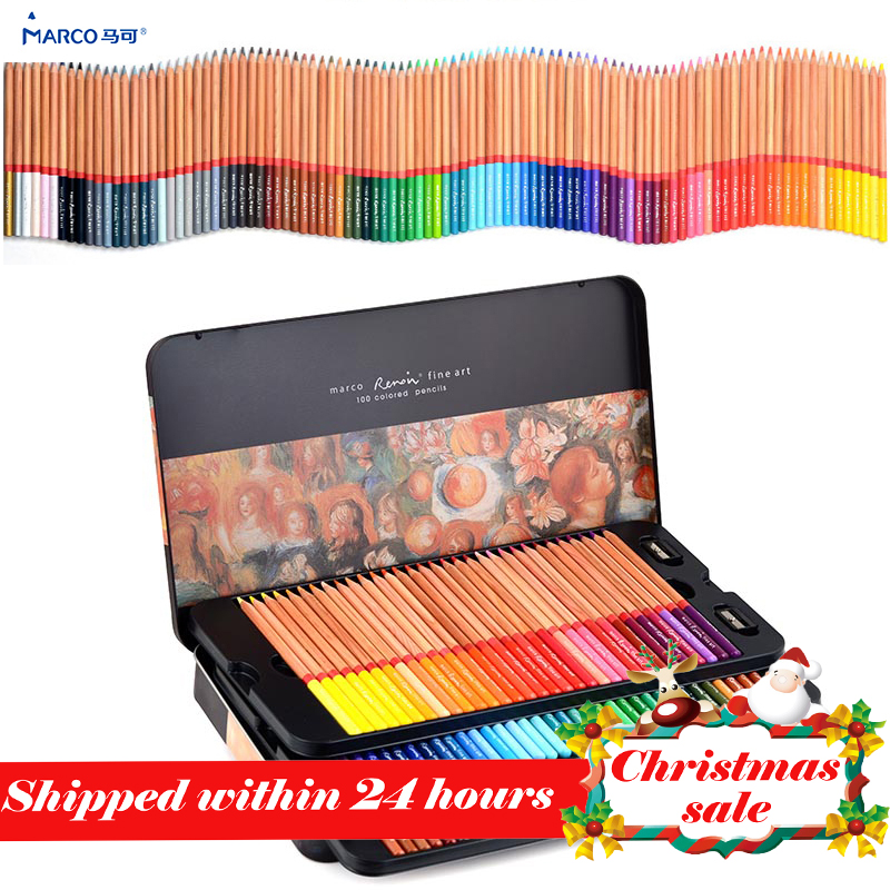 Marco 24/36/48/72/100 profesional grasa lápices de Color lapices de colores para Color dibujo conjunto de lápiz arte suministros