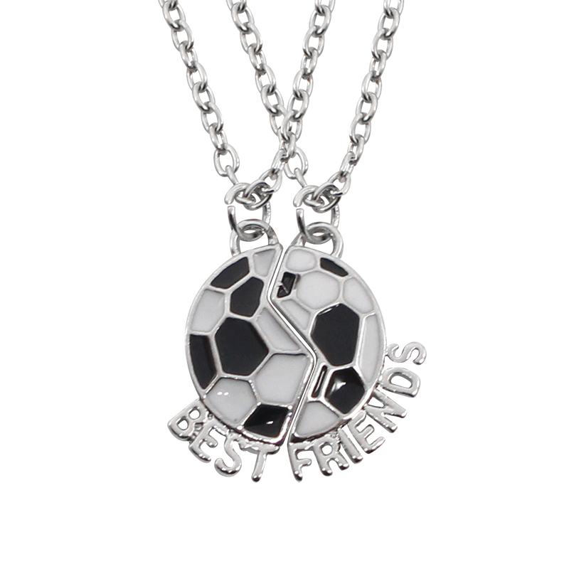 Creative BEST FRIENDS Necklace Soccer Football Friendship Pendant Necklaces Two Parts Sport Football Team Number BFF Necklaces