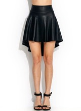 E319 Plus Size High Waist High Low Sleek High Quality PU Faux Leather Skater Flared Skirt Women Pleated Skirt