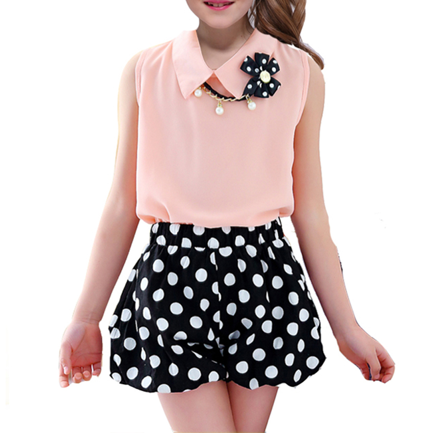 Girls Sets Polka Dot Suits for Baby Kids Clothes 2018 New Casual T-shirt & Shorts 2pc Summer Sleeveless Sets Outfits 6 8 9 Years 2pcs children kids baby girls outfit sets chiffon t shirt tops shorts sleeveless summer outfits suit cute girls clothes sets