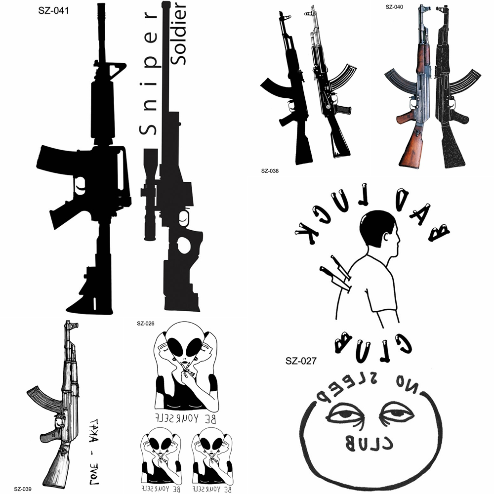 YURAN New Black Gun Men Fashoin Tattoo Stickers Women Body Arm Temporary Tattoo AK Rifle Waterproof Tatoos Sniper Transferable