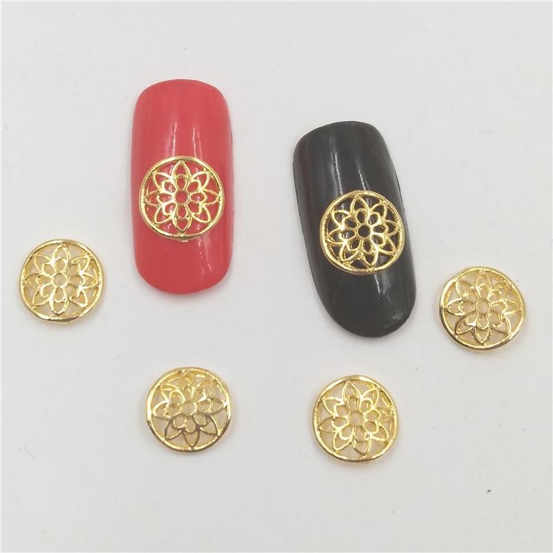 50Pcs new Gold Round nail stickers, 3D Metal Alloy Nail Art Decoration/Charms/Studs,Nails 3d Jewelry nail supplies H131 10pcs opal stone tiara nail stones for nails pearl decoration gold ring nail art 3d metal supplies y188 195