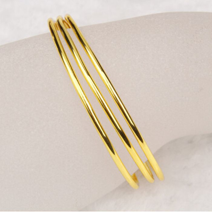 3 Piece Smooth Bangle Simple Design 24K yellow gold filled GF ...