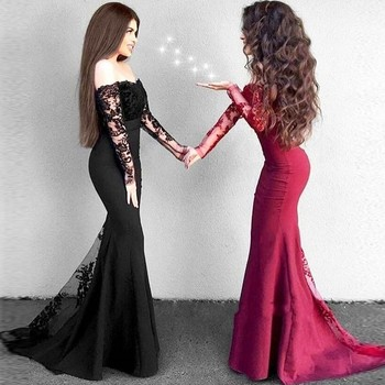 Elegant Mermaid Prom Gowns Off The Shoulder Long Sleeves Lace Satin Black Burgundy Evening Gowns Sexy Women Party Dresses