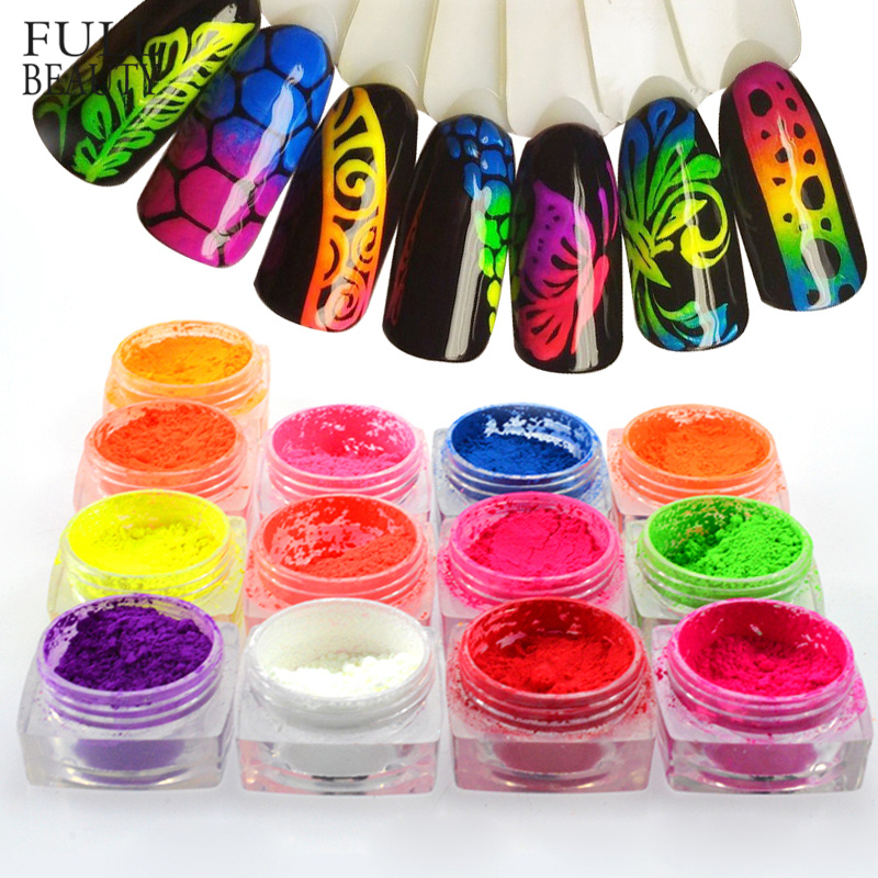 1 Box Neon Pigment Powder Nail Fluorescence Gradient Glitter Summer Shinny Dust Ombre DIY Nail Art Decor Manicure CHYE01 13 1-in Nail Glitter from Beauty & Health
