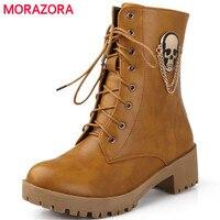 MORAZORA Nuova vendita calda di autunno di modo delle donne stivali di grandi dimensioni 34-40 strada cranio punta rotonda lace-up stivaletti