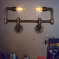 American Vintage Aisle Industrial Water Pipe Wall Lamp Lights Indoor Lighting Bar Restaurant Edison Bulb Retro