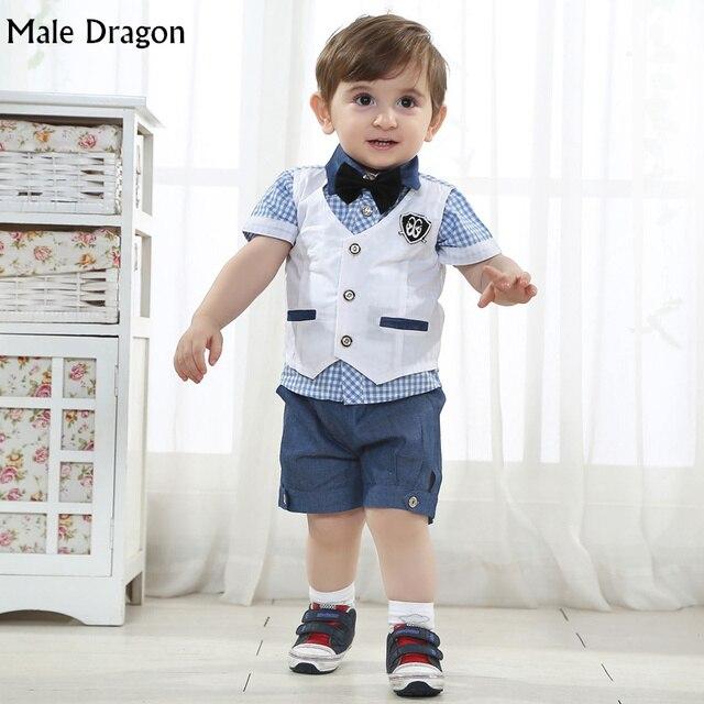 Мальчики свадебный одежда мальчик джентльмен комплект одежды детей одежды костюм с коротким рукавом lapal буле плед галстук лук рубашки наборы