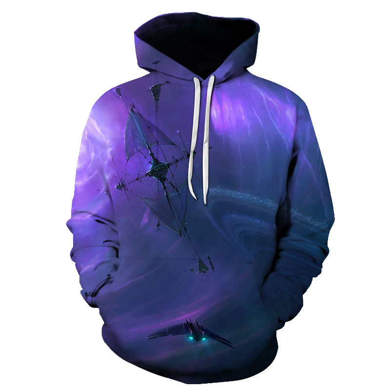 Direct 2019 new five-color star universe fantasy 3D printed sweatshirt fashion jacket hoodie top men and women casual pullovers(China)