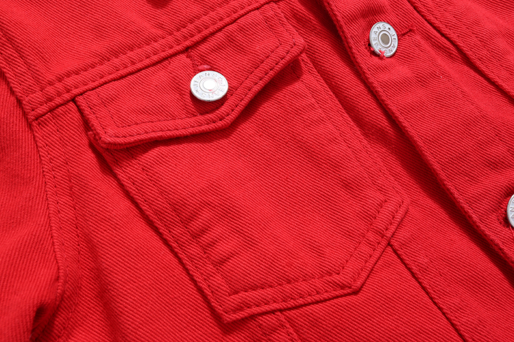 Plus Size Pink Jeans Jacket For Women Autumn Long Sleeve Ladies Outwear Red Denim 1