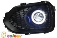 LED DRL daytime running light COB angel eye, projector lens fog lamp with cover for Kia sorento 2009 12, 2 pcs