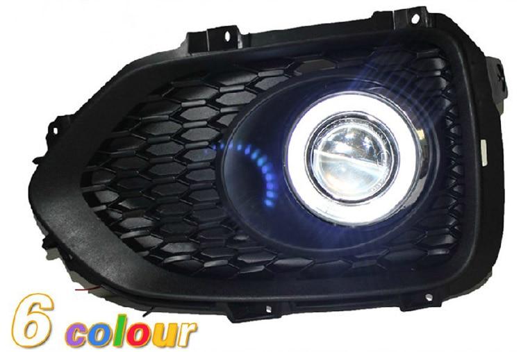LED DRL daytime running light COB angel eye, lensa proyektor lampu kabut dengan penutup untuk Kia sorento 2009-12, 2 pcs