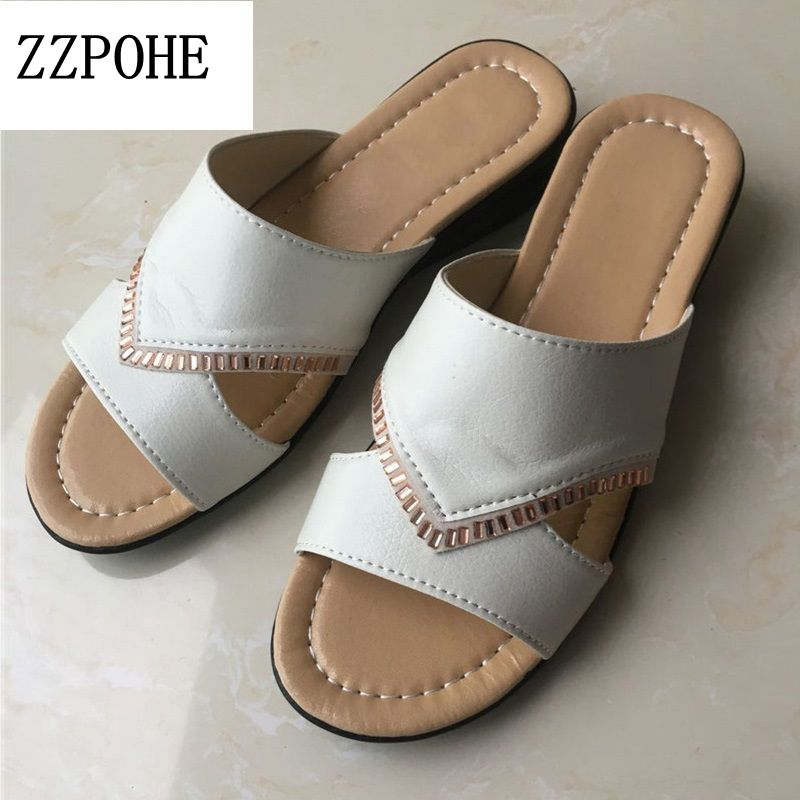 ZZPOHE 2017 Summer Shoes New flat elderly Flip Flop Female slippers Solid Beach Ladies slippers leather