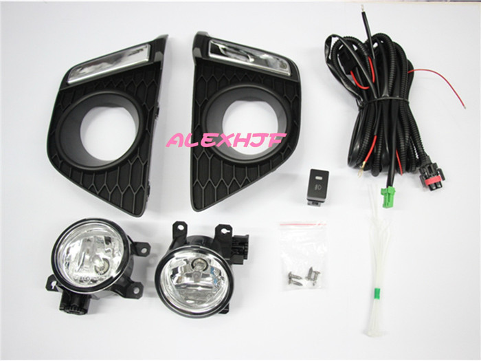 July King Fog Lamp Assembly With Fog Lamp Cover Case for Honda Fit Jazz 2014-2017 III 3RD, Fog Lamp With Switch And Harness Kit eosuns halogen fog lamp for honda crv 2010 top quality oem design with harness wiring kit and switch