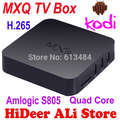 Android tv xbmc amlogic s805 cortex-a5 quad-core h.264/h.265 android 4.4 mx mxq tv box miracast airplay caixa de tv inteligente