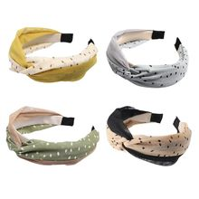 Korean Fresh Women Mesh Polka Dot Headband Vintage Contrast Color Twist Knotted Wide Hair Hoop Casual Hair Styling Accessories цена