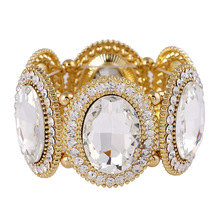 New Fashion Romantic Round Crystal Bracelets For Women Zinc Alloy Indian Jewelry Gold Color Wide Bracelet Bangle Pulseiras