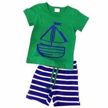 Kids Summer Clothes Sets Pirate Ship Cartoon Printed T-Shirt+ Stripe Pant Kids Boy Clothing 2 PCS Set